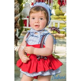 Babiné Summer Baby Girl Set Romper Nautical Red