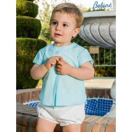 Babiné Summer Baby Boy Set Turquoise and White