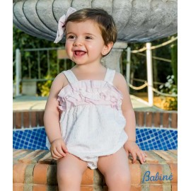 Babiné Summer Baby Girl Romper White with Pink Plumetis
