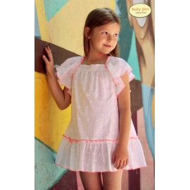 Baby Yiro Summer Girl Dress White and Corale