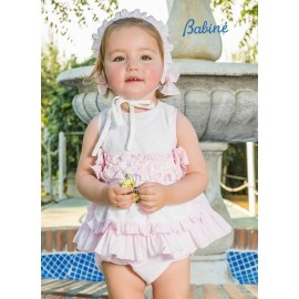 Babiné Summer Baby Girl Set White with Pink Plumetis