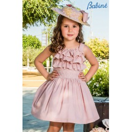 Babiné Summer Girl Dress Soft Pink with Ruffles