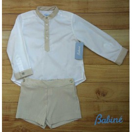 Babiné Summer Boy Set White and Camel Stripes