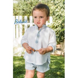 Babiné Summer Boy Set White and Blue Stripes