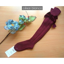 Cesar Blanco Winter Girl High Wine Colour Socks