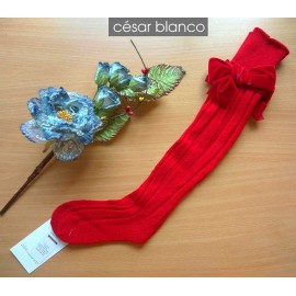 Cesar Blanco Winter Girl High Red Socks
