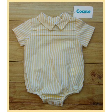 Cocote Summer Baby Romper Yellow Stripes