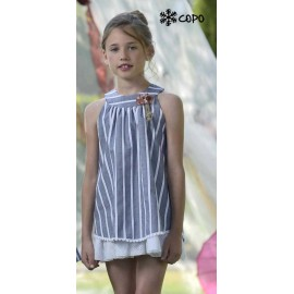 Creaciones Copo Summer Girl White Dress Stripes