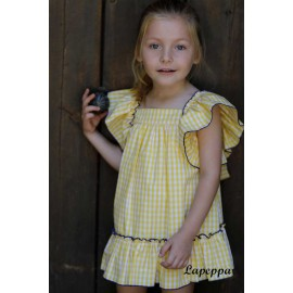 Lapeppa Summer Girl Dress Yellow Squares
