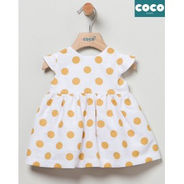 Coco Acqua Summer Baby Girl Dress White with ocher Spots