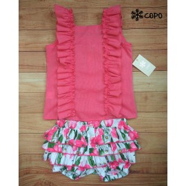 Creaciones Copo Summer Girl Set Pink and Flowers