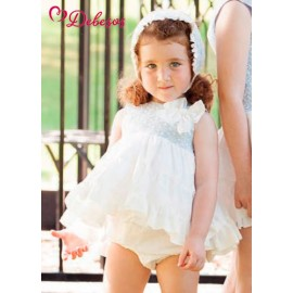 Debesos Summer Baby Girl Set Blue Embroidery and White