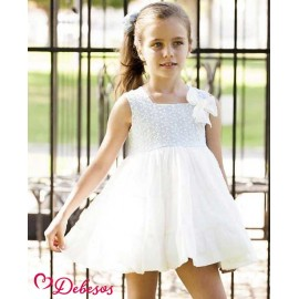 Debesos Summer Girl Dress Blue Embroidery and White High Waist