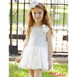 Debesos Summer Girl Dress Blue Embroidery and White Low Waist