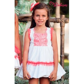 Debesos Summer Girl Dress White with Coral Tulle High Waist