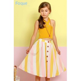 Foque Summer Girl Set Mustard and Stripes