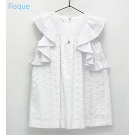 Foque Summer Girl Dress White Embroidery