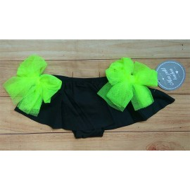 Mon Petit Bonbon Summer Girl Swim Knickers Black and Fluorine Ties