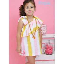 Foque Summer Girl Dress Stripes Straight