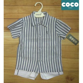Coco Acqua Summer Baby Boy Set White and Navy Stripes