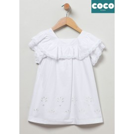 Coco Acqua Summer Girl Dress White Flowers Perforated