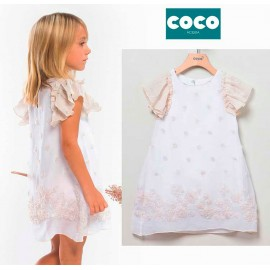 Coco Acqua Summer Girl Dress White with Tulle Flowers