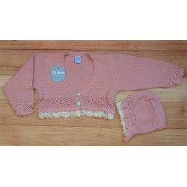 Juliana Summer Baby Girl Jacket Pink with Lace