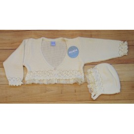 Juliana Summer Baby Girl Jacket Beige with Lace