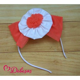 Debesos Winter Girl Headband White and Coral