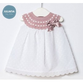 Juliana Summer Baby Girl Dress White with Pink Neck