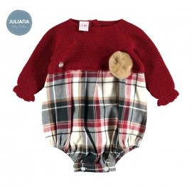 Juliana Winter Baby Boy Romper Wine and Squares