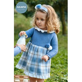 Juliana Winter Baby Dress Blue and Pompoms