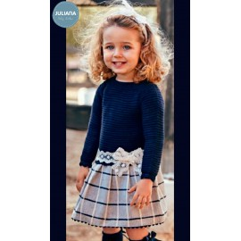 Juliana Winter Baby Dress Navy and Squares Low Waist