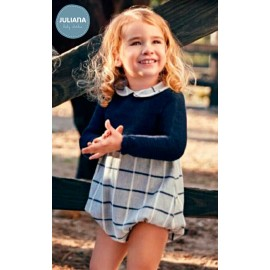Juliana Winter Baby Boy Romper Navy and Squares