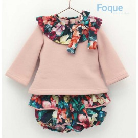 Foque Winter Baby Girl Set Pink and Flowers