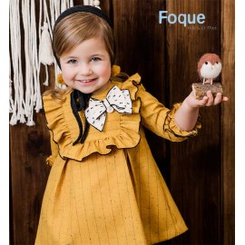 Foque Winter Girl Ocher Dress with Stripes