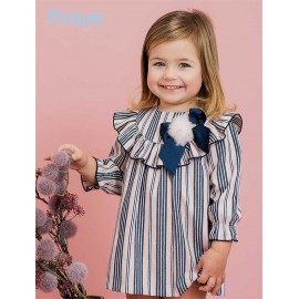 Foque Winter Girl Dress Pink and Navy Stripes