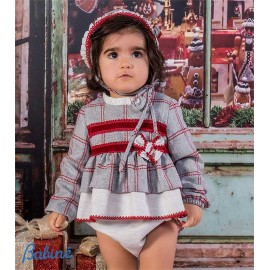 Babine Winter Baby Girl Set Gray and Red Squares