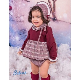 Babine Winter Baby Girl Set Wine and Spots