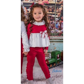Babine Winter Girl Set Gray and Red
