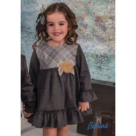 Babine Winter Girl Dress Gray and Squares