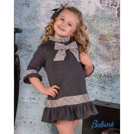 Babine Winter Girl Gray Dress with Tie and Ruffle