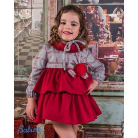 Babine Winter Girl Dress Gray Squares Red Ruffles