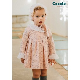 Cocote Winter Baby Girl Dress Pink Elephants