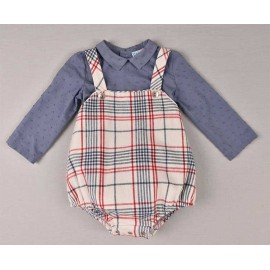 Cocote Winter Baby Boy Blue Set with Squared Romper