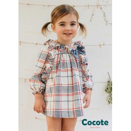 Cocote Winter Baby Girl Dress Squares with Blue Tie