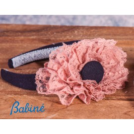 Babiné Winter Girl Navy Headband Pink Lace