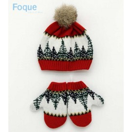Foque Winter Hat and Gloves Baby Boy Trees
