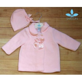 Sardon Winter Baby Girl Pink Coat with Bonnet