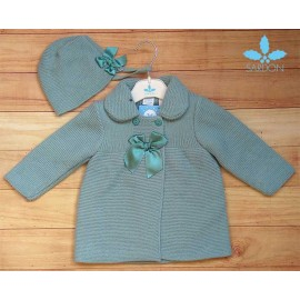 Sardon Winter Baby Girl Green Coat with Bonnet